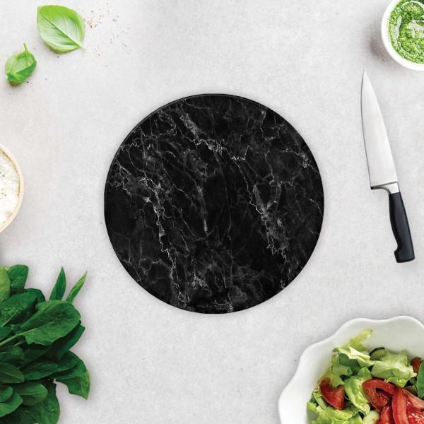 Siyah Mermer Görünümlü   Cam Kesme Tahtası - Cam Kesme Tablası   Çap 32cm