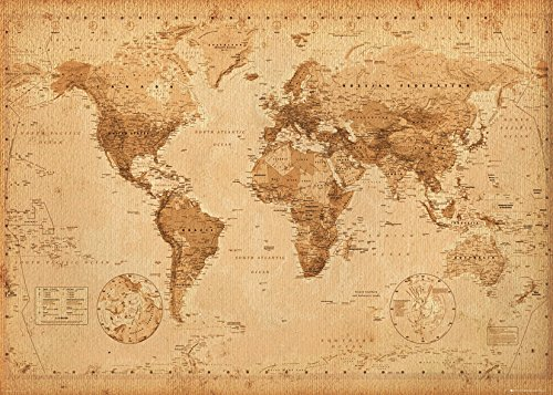 WORLD MAP - ANTIQUE STYLE (POSTER GIANT 100X140 CM)