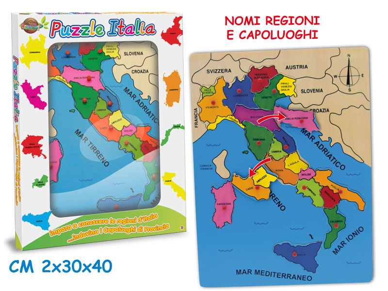 PUZZLE D'ITALIA CON PIOLINI 30X40 CM