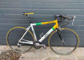 Fabien Bike VELO DE ROUTE BMC TEAM FIRE SS02, TAILLE L (occasion)    (JAUNE-BLANC-VERT)  (Unitaire)