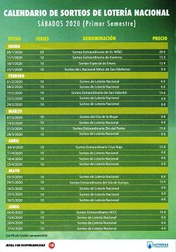 Calendario de Sorteos de Sábado del Primer Semestre de 2020