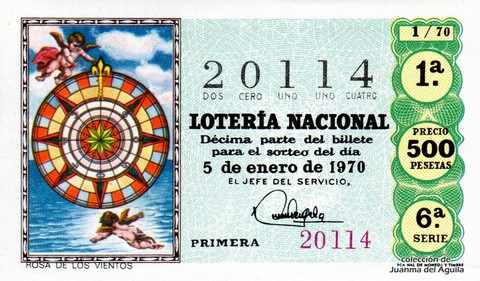 Décimo de Lotería Nacional de 1970 Sorteo 1 - ROSA DE LOS VIENTOS