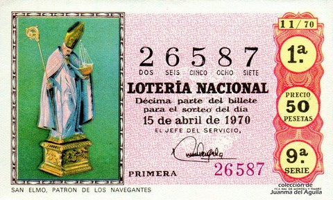 Décimo de Lotería Nacional de 1970 Sorteo 11 - SAN ELMO. PATRON DE LOS NAVEGANTES