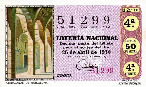 Décimo de Lotería Nacional de 1970 Sorteo 12 - ATARAZANAS DE BARCELONA