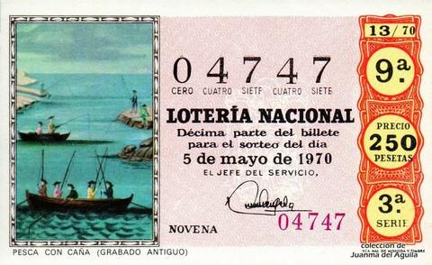 Décimo de Lotería Nacional de 1970 Sorteo 13 - PESCA CON CAÑA (GRABADO ANTIGUO)