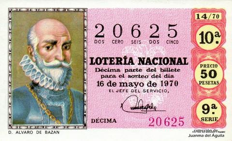 Décimo de Lotería Nacional de 1970 Sorteo 14 - D. ALVARO DE BAZAN