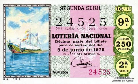 Décimo de Lotería Nacional de 1970 Sorteo 16 - GALERA