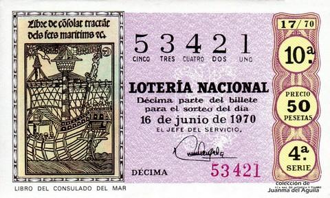 Décimo de Lotería Nacional de 1970 Sorteo 17 - LIBRO DEL CONSULADO DEL MAR