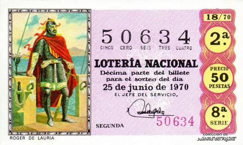 Décimo de Lotería Nacional de 1970 Sorteo 18 - ROGER DE LAURIA