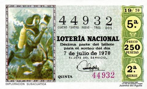 Décimo de Lotería Nacional de 1970 Sorteo 19 - EXPLORACION SUBACUATICA