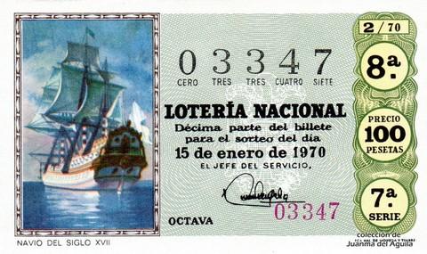 Décimo de Lotería Nacional de 1970 Sorteo 2 - NAVIO DEL SIGLO XVII