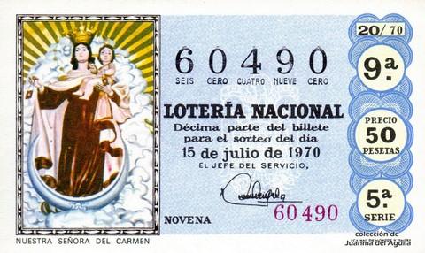 Décimo de Lotería Nacional de 1970 Sorteo 20 - NUESTRA SEÑORA DEL CARMEN