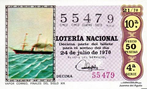 Décimo de Lotería Nacional de 1970 Sorteo 21 - VAPOR CORREO, FINALES DEL SIGLO XIX
