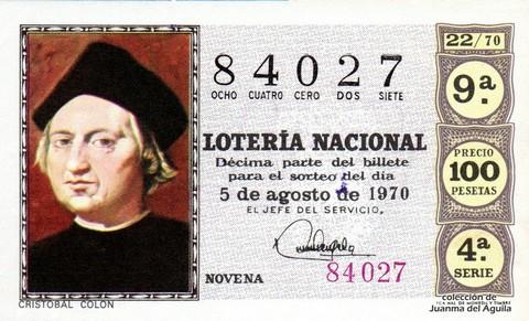 Décimo de Lotería Nacional de 1970 Sorteo 22 - CRISTOBAL COLON