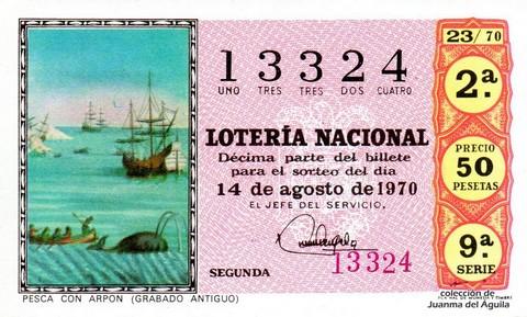 Décimo de Lotería Nacional de 1970 Sorteo 23 - PESCA CON ARPON (GRABADO ANTIGUO)