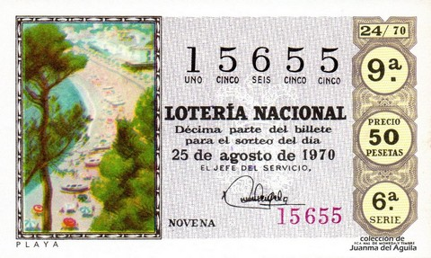 Décimo de Lotería Nacional de 1970 Sorteo 24 - PLAYA