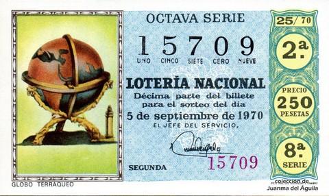 Décimo de Lotería Nacional de 1970 Sorteo 25 - GLOBO TERRAQUEO