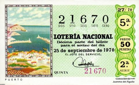 Décimo de Lotería Nacional de 1970 Sorteo 27 - PUERTO