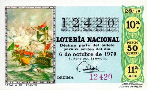 Décimo de Lotería Nacional de 1970 Sorteo 28 - BATALLA DE LEPANTO