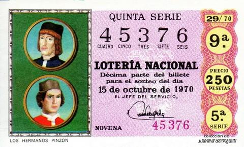 Décimo de Lotería Nacional de 1970 Sorteo 29 - LOS HERMANOS PINZON