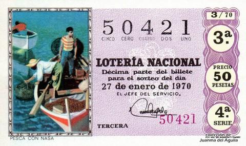 Décimo de Lotería Nacional de 1970 Sorteo 3 - PESCA CON NASA