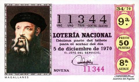 Décimo de Lotería Nacional de 1970 Sorteo 34 - MAGALLANES