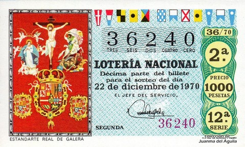 Décimo de Lotería 1970 / 36