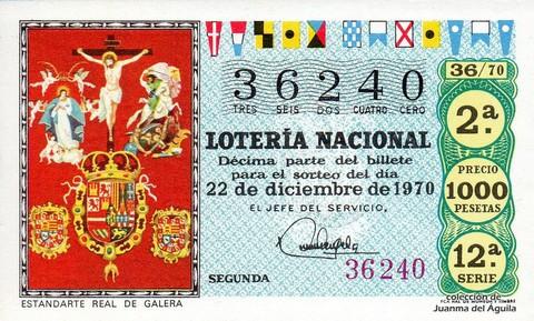 Décimo de Lotería Nacional de 1970 Sorteo 36 - ESTANDARTE REAL DE GALERA