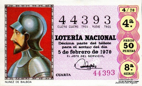 Décimo de Lotería Nacional de 1970 Sorteo 4 - NUÑEZ DE BALBOA
