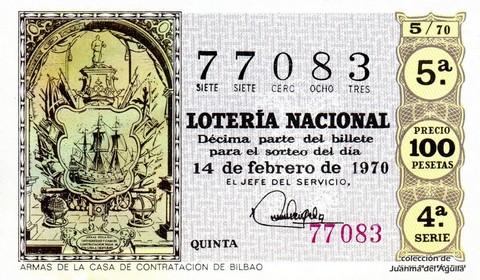 Décimo de Lotería Nacional de 1970 Sorteo 5 - ARMAS DE LA CASA DE CONTRATACION DE BILBAO