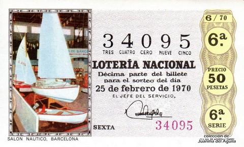 Décimo de Lotería Nacional de 1970 Sorteo 6 - SALON NAUTICO. BARCELONA