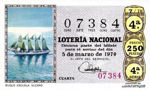 Décimo de Lotería Nacional de 1970 Sorteo 7 - BUQUE - ESCUELA  ELCANO