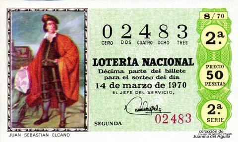 Décimo de Lotería Nacional de 1970 Sorteo 8 - JUAN SEBASTIAN ELCANO
