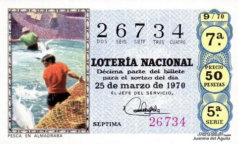 Décimo de Lotería Nacional de 1970 Sorteo 9 - PESCA EN ALMADRABA