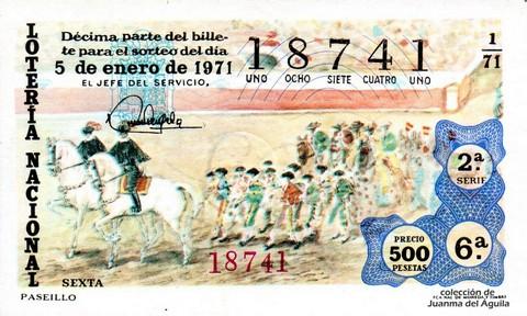 Décimo de Lotería Nacional de 1971 Sorteo 1 - PASEILLO