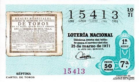 Décimo de Lotería Nacional de 1971 Sorteo 10 - CARTEL DE TOROS
