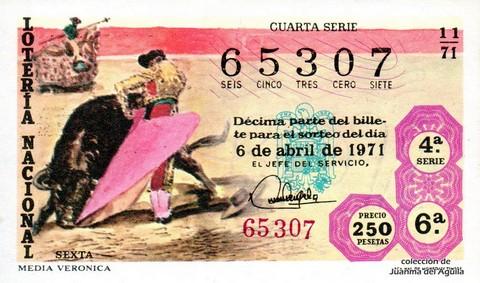 Décimo de Lotería Nacional de 1971 Sorteo 11 - MEDIA VERONICA