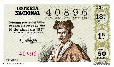Décimo de Lotería Nacional de 1971 Sorteo 12 - EL CHICLANERO