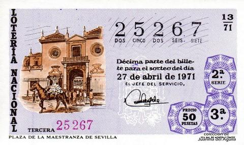 Décimo de Lotería Nacional de 1971 Sorteo 13 - PLAZA DE LA MAESTRANZA DE SEVILLA