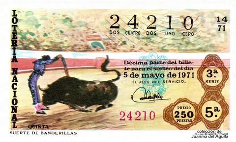 Décimo de Lotería Nacional de 1971 Sorteo 14 - SUERTE DE BANDERILLAS