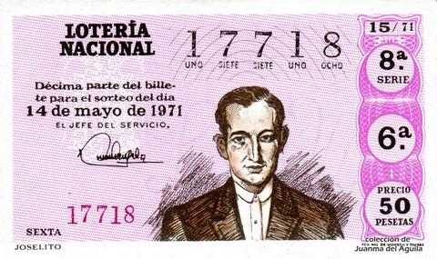 Décimo de Lotería Nacional de 1971 Sorteo 15 - JOSELITO