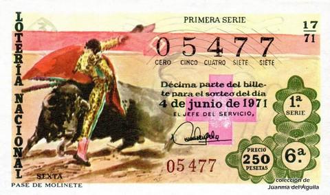 Décimo de Lotería Nacional de 1971 Sorteo 17 - PASE DE MOLINETE