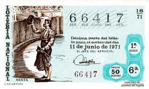 Décimo de Lotería Nacional de 1971 Sorteo 18 - LAGARTIJO