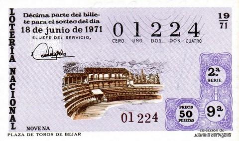 Décimo de Lotería Nacional de 1971 Sorteo 19 - PLAZA DE TOROS DE BEJAR