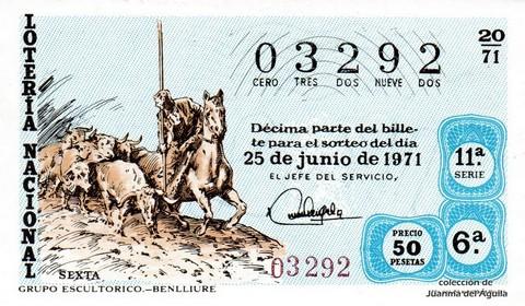 Décimo de Lotería Nacional de 1971 Sorteo 20 - GRUPO ESCULTORICO.-BENLLIURE