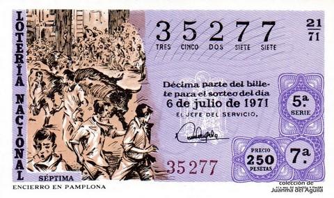 Décimo de Lotería Nacional de 1971 Sorteo 21 - ENCIERRO EN PAMPLONA