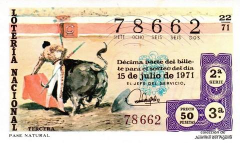 Décimo de Lotería Nacional de 1971 Sorteo 22 - PASE NATURAL