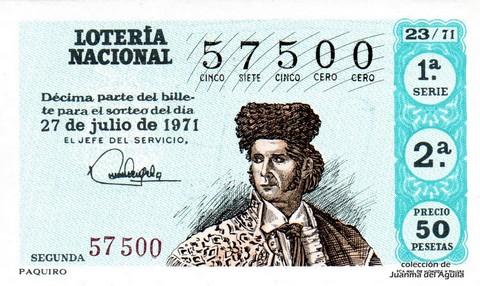 Décimo de Lotería Nacional de 1971 Sorteo 23 - PAQUIRO
