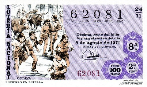 Décimo de Lotería Nacional de 1971 Sorteo 24 - ENCIERRO EN ESTELLA