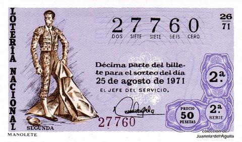 Décimo de Lotería Nacional de 1971 Sorteo 26 - MANOLETE